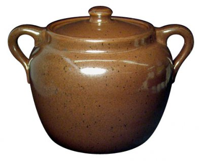 Cone 10R beanpot glazed with Alberta Slip (100%).