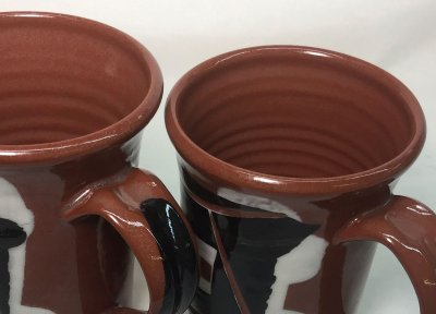 Terra cotta transparent glaze: Too thick and just right