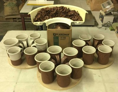Eighteen Plainsman M390 mugs from half a box of clay!