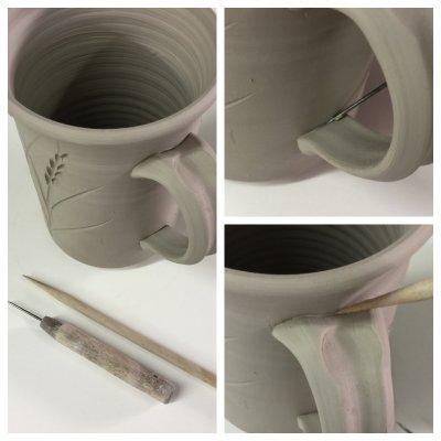 A step to prevent cracking of hand-made mug handles
