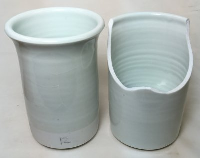 Flame thermal shock failure in two porcelains: surprising result