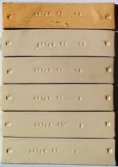 Foundry Hill Creme fired test bars