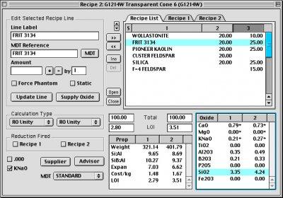 Digitalfire Insight running on a Macintosh middle 90s