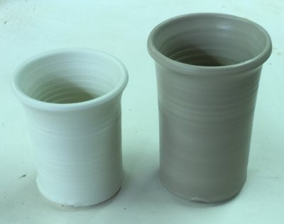 Thrown pieces made from pure Grolleg and EP Kaolin