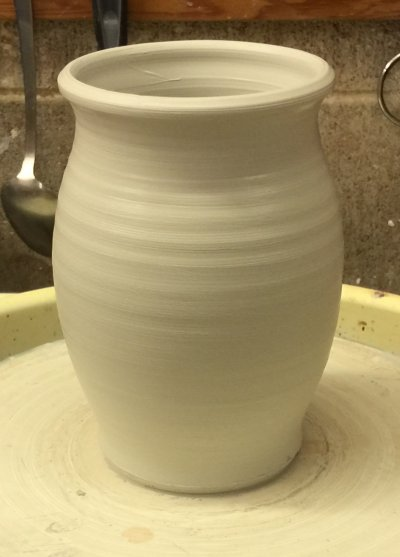 This piece is thrown from calcined kaolin