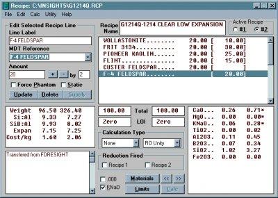 Digitalfire Insight 5.0 running on Windows 95
