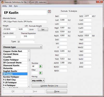 Digitalfire Insight materials dialog window