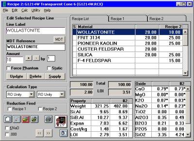 Digitalfire Insight 5.1 running on Windows 95