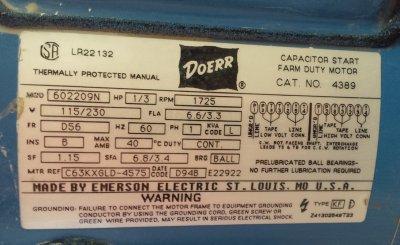 One-speed slurry mixer motor label