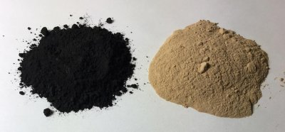 Manganese dioxide powder (left) and manganese carbonate (right)