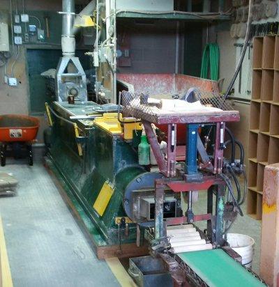 Deairing pugmill at Plainsman Clays