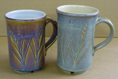 Alberta Slip rutile blue on a porcelain (left) and buff stoneware (right)